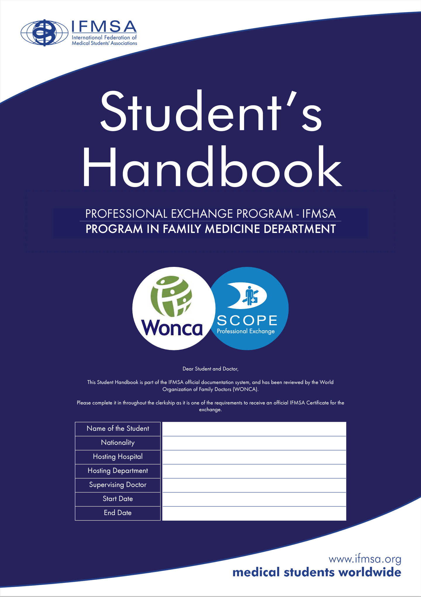 IFMSA and WONCA launches the new Student's Handbook for Professional Exchanges in Primary Care