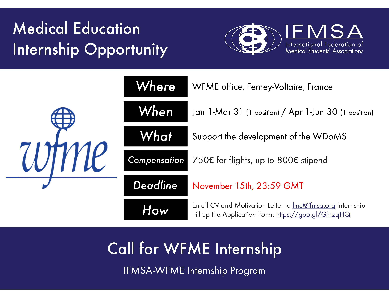 Call for WFME Internship
