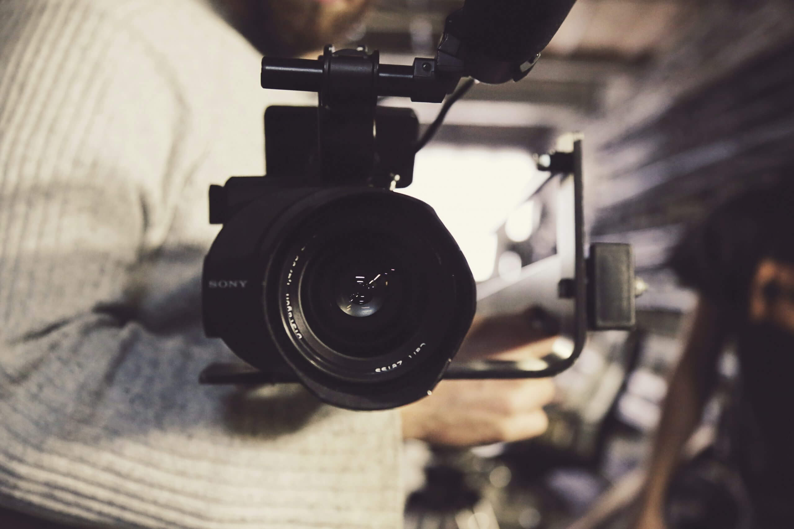 A camera pointing towards the view.